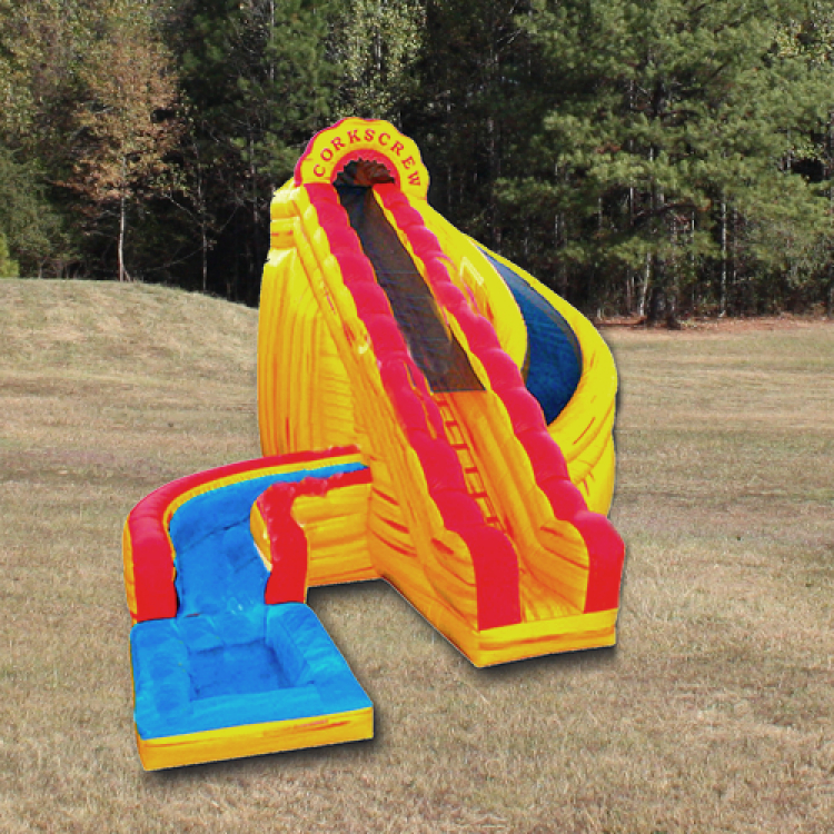 Slide - 22' High Corkscrew Fire w/ pool (Single Lane)