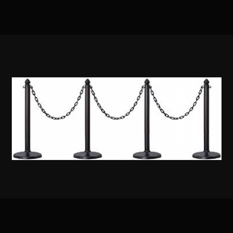 Stanchions-Black Plastic with Black Chain
