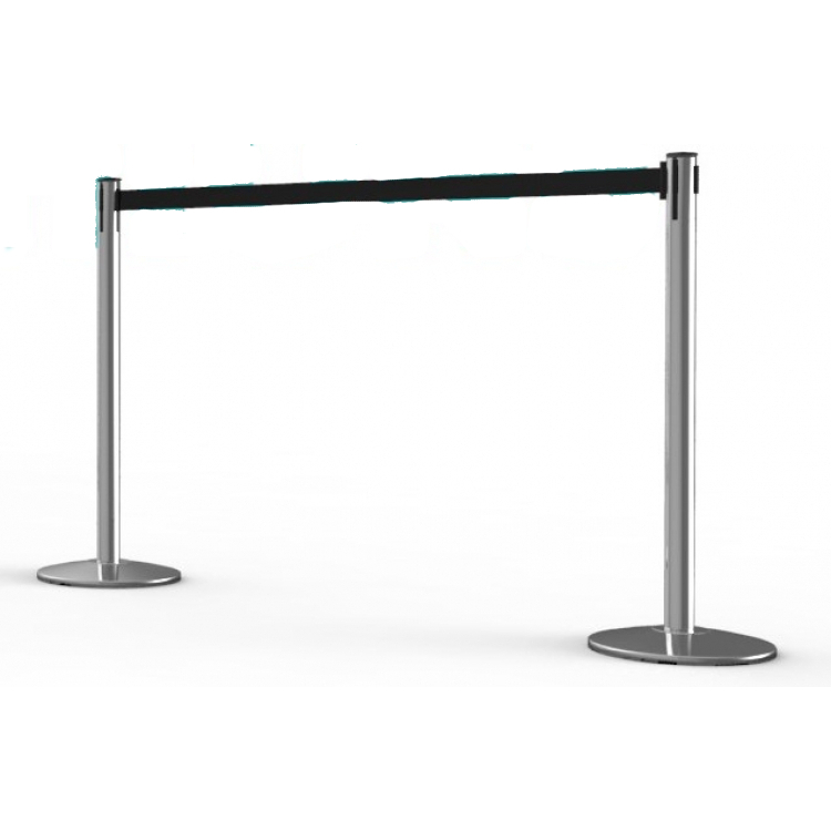 Stanchions-Chrome With Black Retractable Belt