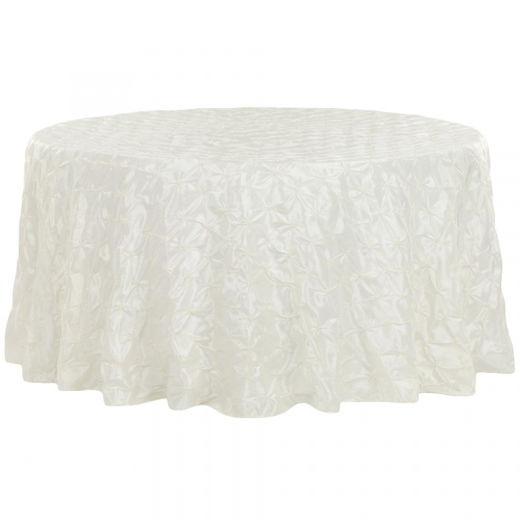 108 Round Ivory Lace Linens
